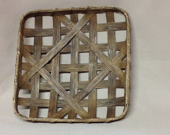 "12 1/2""  Square Tobacco Basket, Small Replica, Hand Woven"