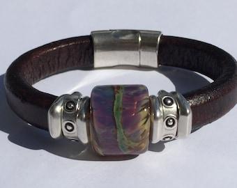 Raku Lampwork Regaliz Leather Bracelet