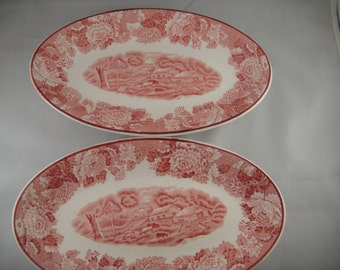 English Scenery Red Pattern Enoch WOods Woods Ware Two 2 Small Platters