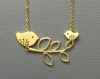 Mother and Baby Bird Necklace- Mom gifts, nature inspired, spring to fall style, also available in silver.