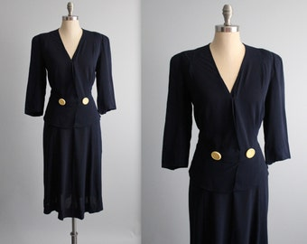 XL 40's Dress // Vintage 1940's Navy Rayon Peplum Surplice Day Dress XL Volup