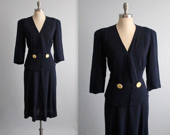 XL 40's Dress // Vintage 1940's Navy Rayon Peplum Surplice Day Dress XL Volup
