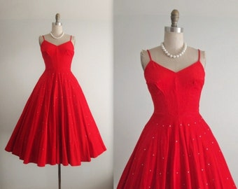 50's Red Dress // Vintage 1950's Red Rhonestone Corduroy Cocktail Party Holiday Dress XS S