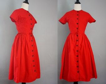 1960s cotton dress / 60s Bobbie Brooks dress / extra small red dress