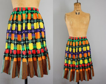 1980s skirt / 80s skirt / plaid skirt / primary colors skirt / elastic waistband skirt medium