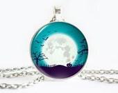Full moon necklace, Teal Blue necklace, Moon Pumpkin pendant, Trees pendant, Bats necklace, Blue White Charm, Halloween charm, Night Pendant