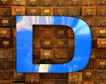 Vintage Marquee Sign Letter Capital 'D': Very Large Blue Wall Hanging Initial -- Industrial Neon Channel Advertising Salvage