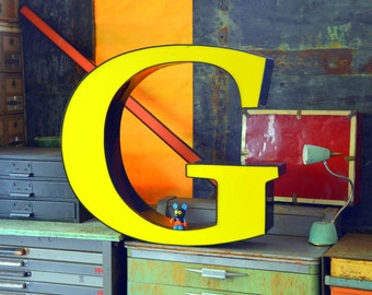 Vintage Marquee Sign Letter Capital 'G': Very Large Yellow Wall Hanging Initial -- Industrial Neon Channel Advertising Salvage