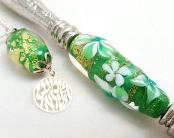 Golden fields - Torah Pointer YAD With Handmade Glass Bead - A Perfect Bar/Bat Mitzvah Gift