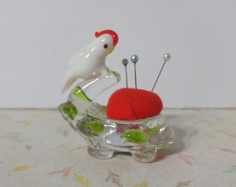 Vintage Glass Bird Pin Cushion Cute
