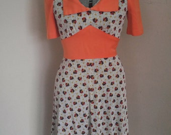 Very Cute 1970's Floral A line Dress Mod Scooter Dress
