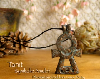 Tanit Symbolic Amulet - Lunar Deity -  Punic and Phoenician Goddess - Main Deity of Carthage - Polymer Clay Pendant - Bronze Patina Finish