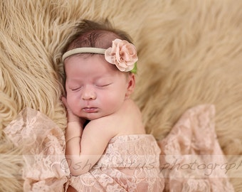 Baby Flower Headband - Several Colors - Soft -  Blush Flower Newborn Headband - Nylon Headband - One Size Fits All - Rose - Nude Headband