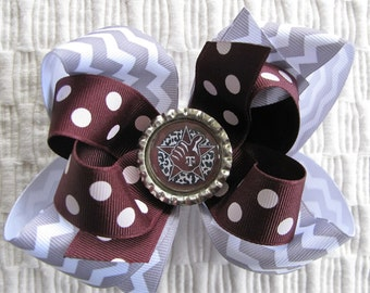 3075 Aggie maroon, gray and white double boutique bow