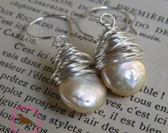 Off White Coin Pearl Earrings, Cream Coin Pearl Messy Wire Sterling Earring, Bridal Pearl, Leverback Coin Pearl, by MagpieMadness for Etsy