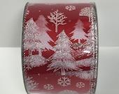 2.5 Inch Red White Christmas Tree Snowflake Ribbon C1440076, Deco Mesh Supplies