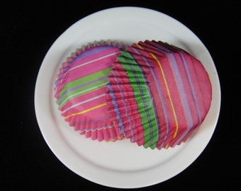 Bright Pink Striped Mini Cupcake Liners, Mini Baking Cups, Mini Muffin Papers, Mini Candy Paper, Cake Pop Papers, Truffle Cases  - QTY. 25