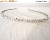 ON SALE Narrow Bridal Headband, Skinny Bridal Headband, Diamond Look Studded Rhinestones Super Sparkly