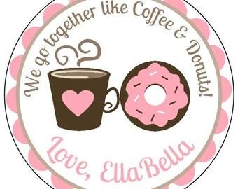 coffee & donuts valentine's stickers, custom valentine donut labels, personalized valentines stickers, pink coffee valentines labels