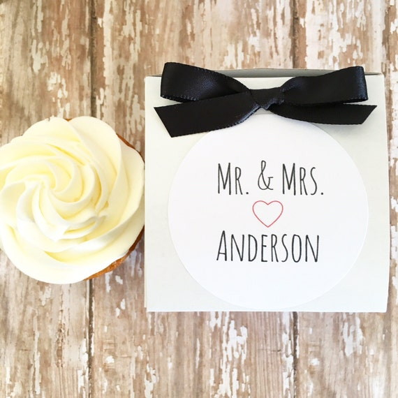 Wedding Gift Box Stickers : 12 wedding favor boxes, mr and mrs wedding stickers with box, wedding ...