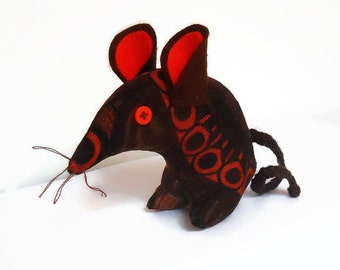 Retro Mouse in  funky 70s  brown and orange BORAS Vintage Fabric