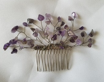 Amethyst hair comb accessory