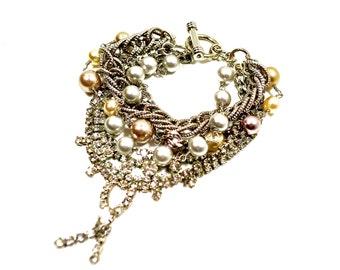 Silver and Pearl Rhinestone Bridal Bracelet, Wedding Bracelet, Crystal Pearl Bracelet by Dabchick Vintage Gems
