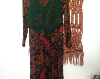 Another Thyme Autumnal Paisley Dress with Attached Vest
