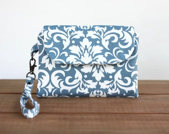 Fabric Clutch Purse - Wristlet Purse - Damask Smartphone Wristlet - Wristlet Wallet Cell Phone