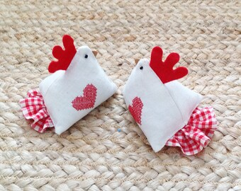 lavender scented vintage linen cross stitched hearts on haberdashery hen, chicken, rooster, with red gingham tail and felted red comb.