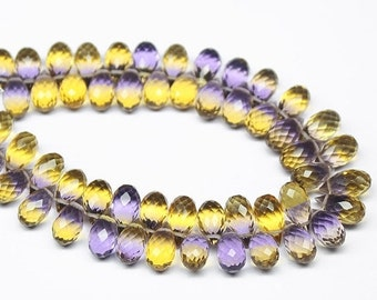 VALENTINE SALE 55% Ametrine Bicolor Quartz Faceted Tear Drop Briolette Beads, 10 beads, 10x5mm, SKU7747A