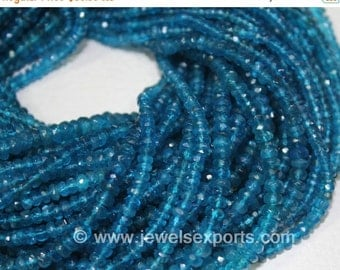 VALENTINE SALE 55% Natural Neon Blue Apatite Faceted Rondelle Beads Strand, 13 inches, 4mm, SKU6969/A
