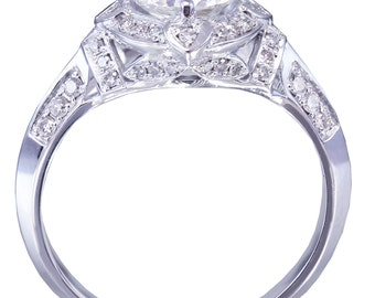 GIA H-SI1 14k White Gold Round Cut Diamond Engagement Ring Art Deco 1.75ct