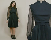 Sheer Sleeve Dress 60s Black Mod Puff Sleeves Belted 1960s Cocktail Party Dress Midi Pleated Skirt / Size L Large