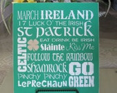 St. Patrick's Day (subway art) Wooden Sign . . . Sign - Wooden Sign - Wooden St Patrick's Day Sign
