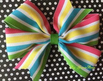 Caribbean Smoothie Striped Large Pinwheel Bow