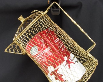 Gold Mesh Wire Tall Coffee Pot  Shabby Chic - Primitive