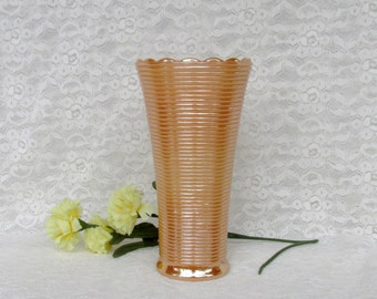 Vintage Peach Lusterware Ribbed Vase with Scalloped Rim Anchor Hocking Fire King