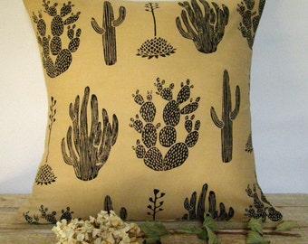 BLOCKPRINT Cactus Pillow Cover - Mexico Southwest - Indian Cotton - Printmaking - 16x16 - European Linen Backing