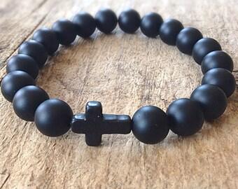 Men's Black Cross Bracelet, Faith Bracelet, Religious Bracelet, Men's Bracelet, Matte Black Onyx, Black Bracelet, Sideways Cross
