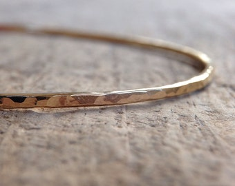 Hammered Gold Bangle, Womens Gift, Boho Luxe Jewelry, Gold Stacking Bangle, 14K Gold Fill Bangle, Skinny Bangle, Mother's Day