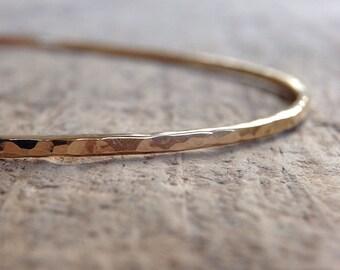 Hammered Gold Bangle, Womens Gift, Boho Luxe Jewelry, Gold Stacking Bangle, 14K Gold Fill Bangle, Skinny Bangle