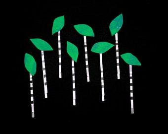 Falling Leaf Bobby Pins - Bun Pins - Hair Accessory  - Woodland Wedding Accessory - Green Hairpins - Little Girls Gift Idea