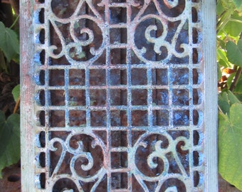Victorian Era Cast Iron Heat Grate - Rusty Symmetry - Architectural Salvage - Garden Art - Garden Sculpture