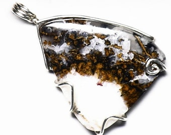 Gold Plume Agate Pendant in Sterling Silver, White and Gold Agate, Handmade Agate Jewelry, Natural Agate Gift, Agate Stone Pendant, Real Gem