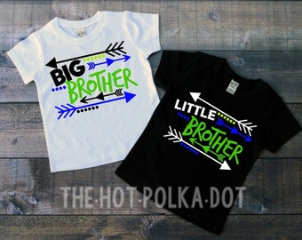 Set of TWO Toddler Boy Brother White Short Sleeve Shirts BIG and Little BROTHER Sibling Shirt - Custom Vinyl Shirts for Toddlers, Boys