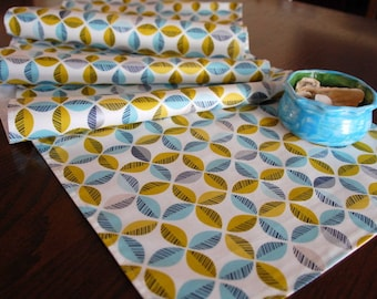 Blue Table Runner, Organic Table Runner, Turquoise Citron Gray Table Runner, Geometric Table Linens, 12x72 Lined Table Runner