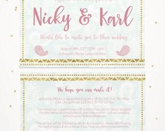 Wedding invitation, double sided personalised printable