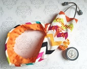 Personalized Stethoscope Cover, Registered Nurse, Gift for Nurse, Veterinarian Gift, EMT, Paramedic, Vet Tech - Rainbow Chevron with Orange