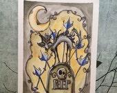 Spooky graveyard Black cat Halloween Illustration cute creepy 6x8 marker and watercolor sketch LuLusApple